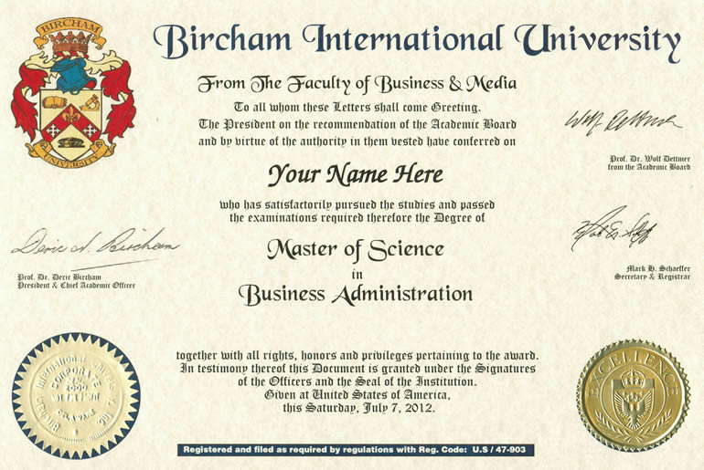 Master BIU Diploma sample